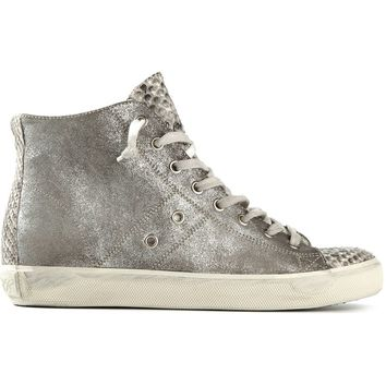 Leather Crown hi-top sneakers