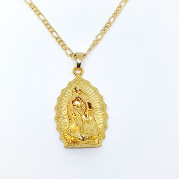 1-2416-1957-g10 Gold Overlay Guadalupe Pendant Necklace.