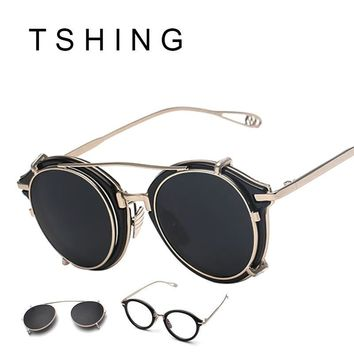 2552f16f9d TSHING New Steampunk Round Sunglasses Men Women Fashion Brand UV. TSHING  2017 New Women Cat Eye Sunglasses Fashion Vintage Brand Metal Frame Coating  Mirror ...