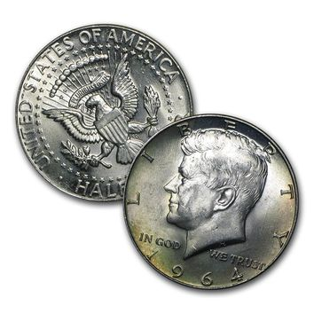1964 $1.00 Face Value 90% Silver Kennedy Halves BU