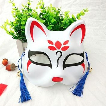 Hand Painted Fox Mask Japanese Full Face PVC Halloween Animal Mask Masquerade Cosplay Party Masks Party Masks Cosplay