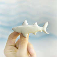 Brooch Shark, white and blue nautical, fish, sea