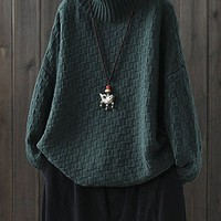 Women's Knitted Tunic Sweatshirt Tops Sweater Jumper Long Sleeve High Neck