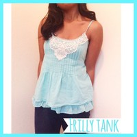Frilly blue tank