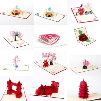 3D Pop Up Cards Paper Craft Greeting Cards Invitations Valentine Lover Love Romantic Birthday Wedding Anniversary Greeting Card