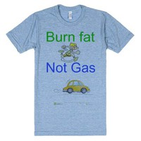 burn fat not gas-Unisex Athletic Blue T-Shirt