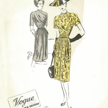 Rare Vintage Vogue Couturier Design No. 306, 1940s Dress Sewing Pattern, 34 bust