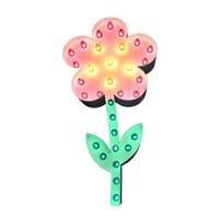 Flower Vintage Marquee Lights Sign with Colored Bulbs (White Finish)