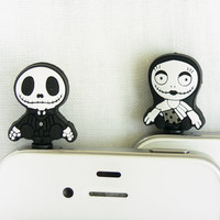 Set of 2 -  Jack Ghost Cell Phone Anti-Dust Plugs