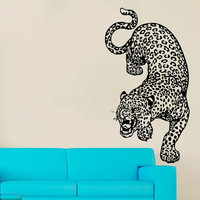 Cheetah Wall Decal Zoo Vinyl Stickers Safari Decals Leopard Wild Cat Decal Art Mural Home Design Interior Animals Living Room Decor KI163