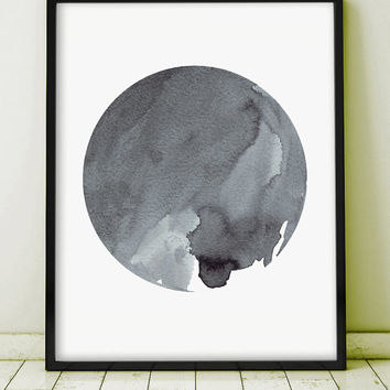 Watercolor Painting Art Abstract Painting Original Art Grey Gray Minimal Art Ink Planet Circle Monochromatic Art Geometric GICLEE PRINT