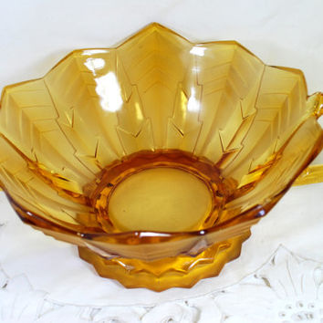 Bowl Amber Glass Parakeets and Feathers Brockwitz 1921 Vintage Art Deco Glass