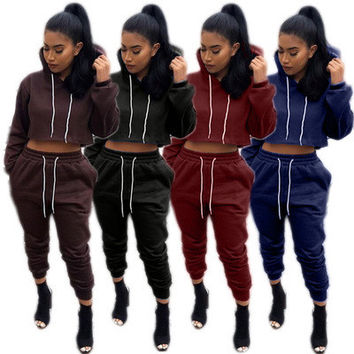 ( 2 Pieces ) 2017 Trending Fashion Casual Solid Crop Top Hoodie and Sweatpants Set  _ 10995