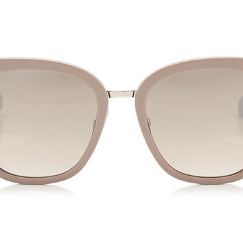 Jimmy Choo - Fabry Nude Acetate Cat-Eye with Glitter Detail Sunglasses
