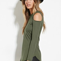 Open-Shoulder Ribbed Top