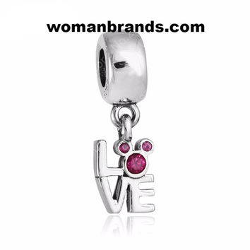 925 Sterling Silver Love Letter alphabet Beads with Cubic Zirconia For Women Charm Bracelets