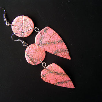 Salmon pink earrings- polymer clay earrings-  dangle earrings- handmade earrings- polymer clay jewelry- salmon pink- leaf textured- modern