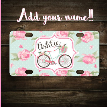 Custom Personalized Mini License Plate Tag ~ Perfect for bicycles, kids bikes, door signs, kids toys,  gifts ~ Add your name ~ Pick a font