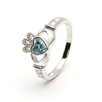 MARCH Birth Month Silver Claddagh Ring LS-SL90-3. Made in Ireland.