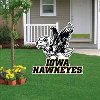 "University of Iowa Traditional Herky Yard Sign - 24""W x 24"" H, W/Spider Stake"