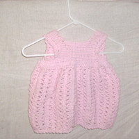 handmade Pink crocheted baby dress by CanadianCraftCritter on Etsy