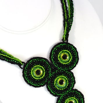 Staring Steampunk Eyes Necklace in Green and Black