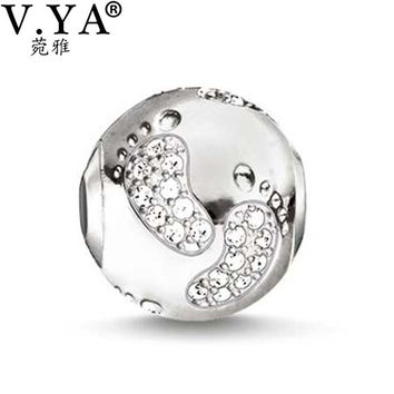 Baby feet Design Beads fit Pandora Necklace Bracelet for Women Men Lovely Pattern Crystal Charms Beads DZ2041