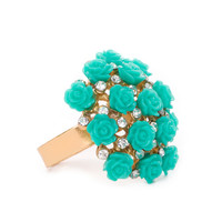 Bouquet Of Roses Ring - Turquoise