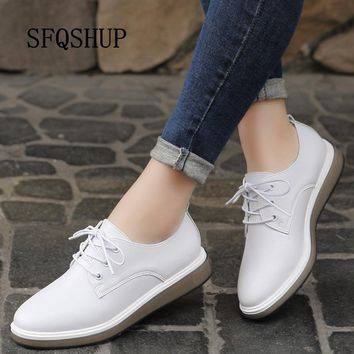2019 Spring Autumn women oxford shoes flats white sneakers shoes women genuine Leather lace up boat shoes moccasins loafers