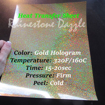"Gold hologram heat transfer sheet, 9""x12"" Gold Heat Transfer, Iron on, holographic, heat press transfer, heat transfer for t-shirts, gold"