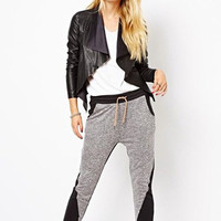Gray Elastic Waist Harem Pants
