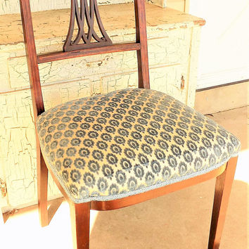 Antique Hepplewhite Inlaid Marquetry Side Chair, 1880s to 1990s Eastlake Period, Vintage Furniture