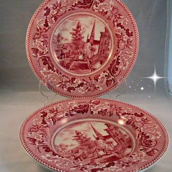 Salad Soup Bowls Dishes Historic America Series Johnson Bros England Michigan Avenue Set Two Pink Chicago