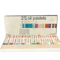 Vintage Oil Pastels, Set of 24, Duro, Art Supplies, Drawing Materials, Artist, Crayons, Coloring, Crafts, Drafting, Art Room, Non Toxic