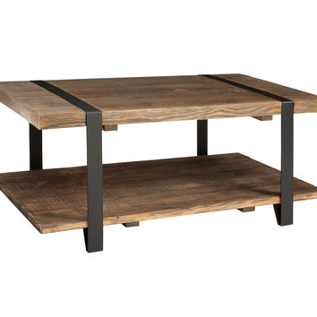 Foxford 42-inch Reclaimed Wood and Metal Coffee Table