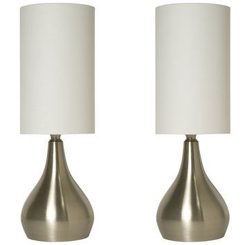 Light Accents Touch Table Lamp Modern 18 Inches Tall, Touch Dimmer (2 Pack)