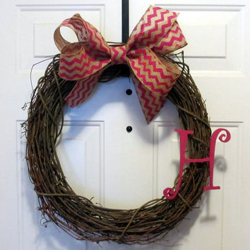 Monogrammed Grapevine Wreath - Summer Fall Spring Wreath - Pink Chevron Burlap Bow