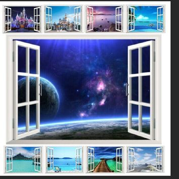 10 styles for you choose ebay hot selling 3D Window Decal WALL STICKER Home Decor Exotic Beach View Art Wallpaper Mural