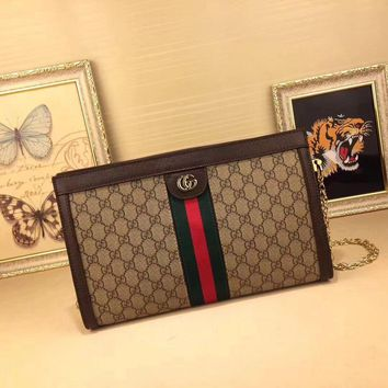 Gucci Women's Pvc And Leather Inclined Chain Shoulder Bag #35071 - Best Deal Online