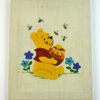 Winnie the Pooh Embroidered Wall Hanging, 1950s