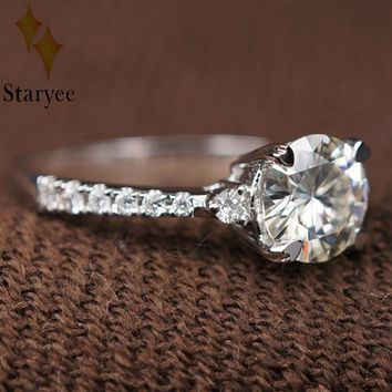 Test Positive Genuine 18K Au750 Gold Solitaire Moissanites Diamond Ring Wedding Brand Women Classic Engagement Party Gift