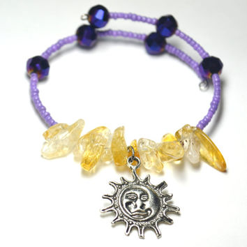 Sun and Moon Citrine and Purple Seed Bead Magic Memory Wire Bracelet Yoga Jewelry