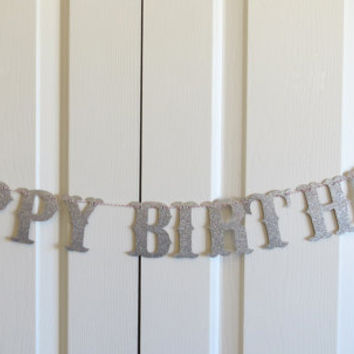Happy Birthday Glitter Letter Banner Garland