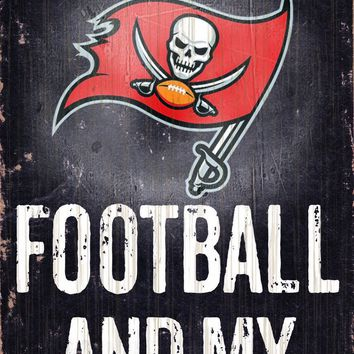 """Tampa Bay Buccaneers Wood Sign - Football and Dog 6""""x12"""""""
