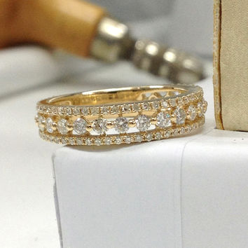1.1ctw Natural Diamond Wedding Ring 14K Yellow Gold,Diamonds Engagement Ring,Anniversary  Ring,Bridal Ring,Eternity Band,Fine,Fashion Design