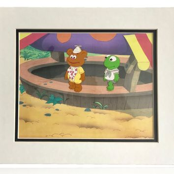 MUPPETS BABIES ORIGINAL PRODUCTION CEL COA 1/1 AUTHENTIC 80s TV KERMIT FOZZIE BABY
