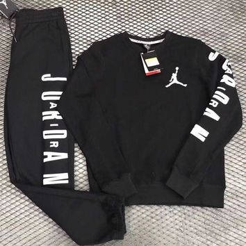DCCKU62 Nike Air Jordan Woman Men Fashion Round Neck Top Sweater Pullover Pants Trousers Set Two-Piece