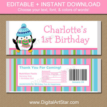 EDITABLE Winter Birthday Chocolate Bar Wrappers - Penguin Candy Wrapper Template - Printable Large Candy Labels - Girl Birthday Party Favors