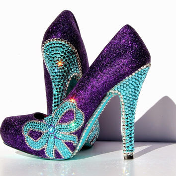 Tiffany Blue Crystal & Purple Glitter Bow Heels