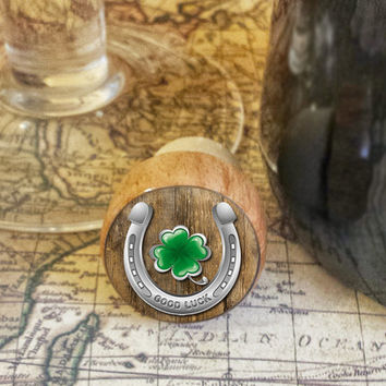 Wine Stopper, Good Luck Horseshoe and Four Leaf Clover, St. Paddy's Day Handmade Wood Cork, Irish Bottle Stopper, Wood Top Cork Stopper